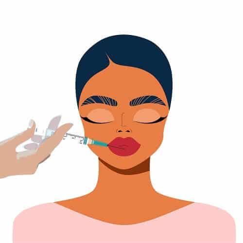 Cartoon of woman getting lip fillers